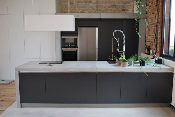 Raw Concrete Loft Kitchen Concrete LCDA Кухня Бетон Сірий