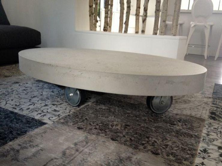 Oval concrete Tables Concrete LCDA Modern kitchen