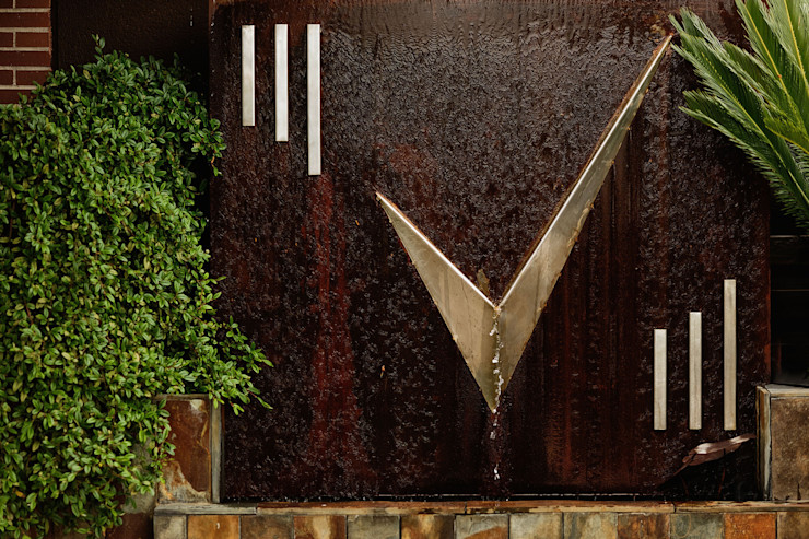 Fuente mezcla acero inox y acero corten Slabon Forja Creativa JardinesAccesorios y decoración