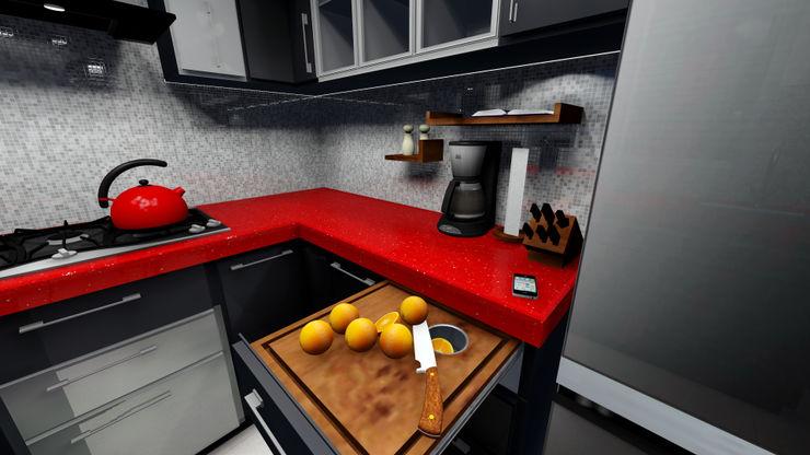In built chopping board Creative Curve 現代廚房設計點子、靈感&圖片