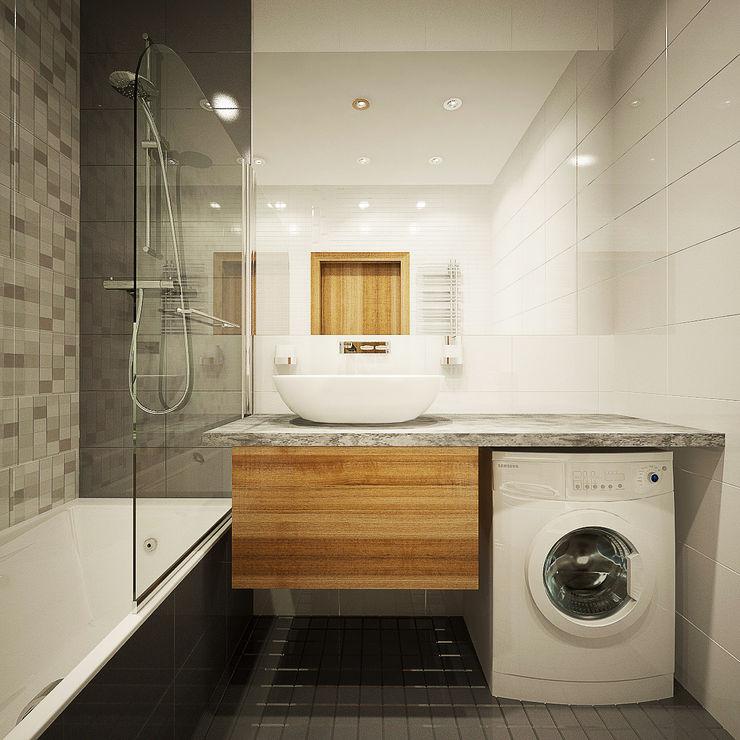 Дизайн однокомнатной квартиры. Александра Петропавловская Ванная комната в скандинавском стиле
