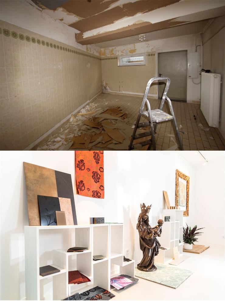 Materialpräsentation vorher/ nachher Wohnwert Innenarchitektur