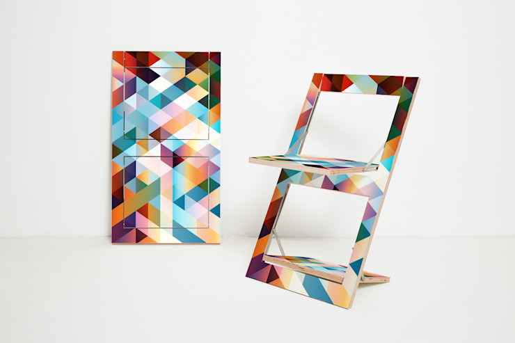 Folding Chair Fläpps – Criss Cross Red AMBIVALENZ 餐廳椅子與長凳 合板 Multicolored