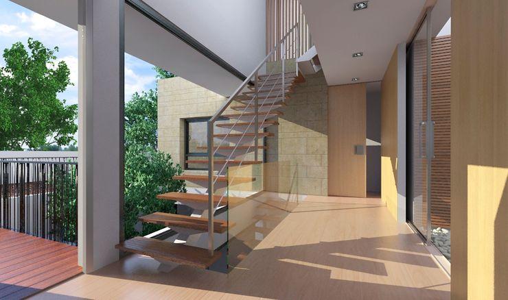 NUÑO ARQUITECTURA ห้องโถงทางเดินและบันไดสมัยใหม่ ไม้ Brown
