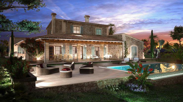 Perspectiva 3D - Casa rustica Realistic-design Casas de estilo rústico