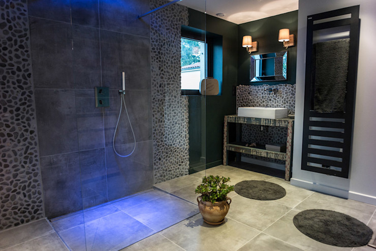 Chambre salle de bain semi- ouverte MS Fabrique Salle de bain moderne