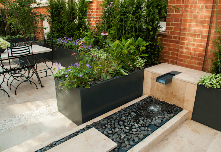 Knightsbridge Roof Terrace - Aralia Garden Design Aralia Moderne winkelruimten Steen Grijs