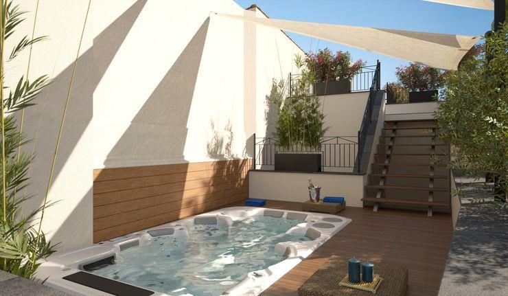 Proyecto 3D Realistic-design Balcones y terrazas de estilo moderno
