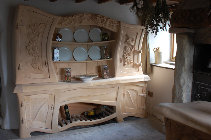 Sculptural Organic Handmade Bespoke kitchen Furniture Carved Wood Design Bespoke Kitchens. KitchenCabinets & shelves