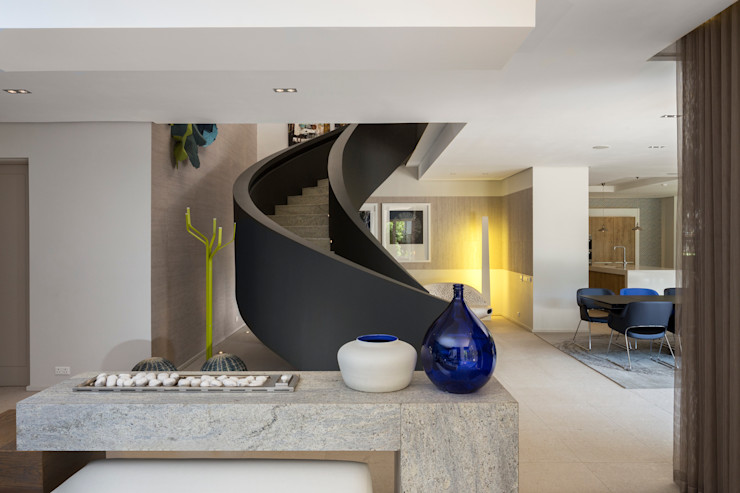 House Shoeman interior C7 architects Modern corridor, hallway & stairs