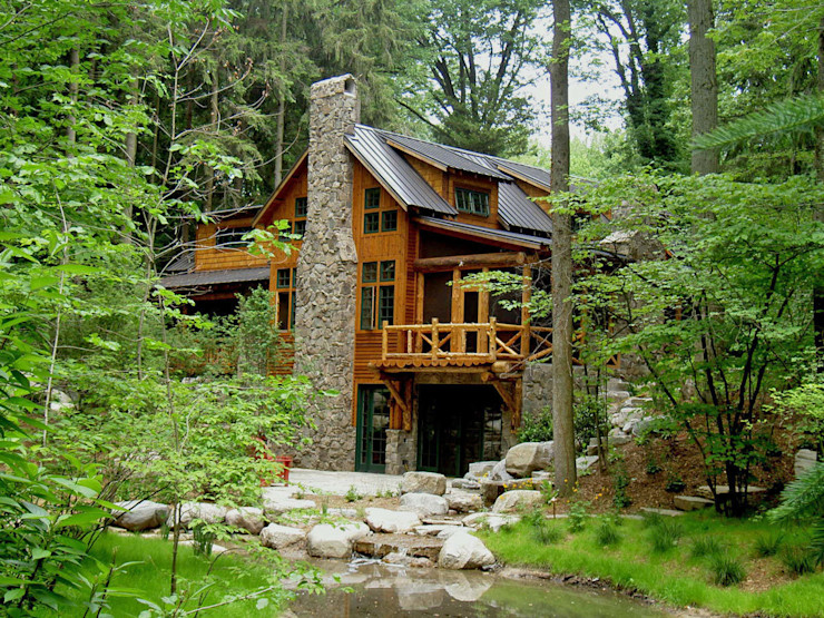Rustic style residence with water garden homify Сад