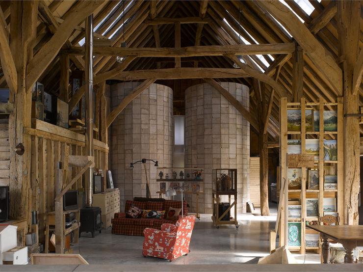 Feering Bury Farm Barn Hudson Architects Eclectic style living room