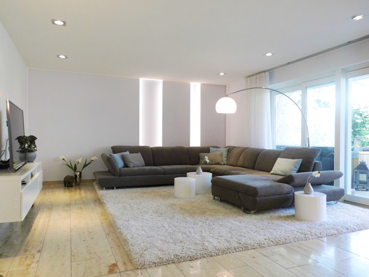 Wohnberatung - Wohn-Esszimmer mit Kaminecke - nachher raum² - wir machen wohnen Moderne Wohnzimmer
