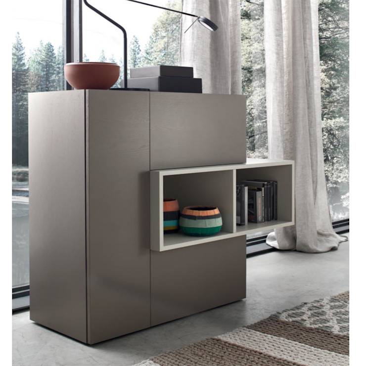 Chest with open compartment, drawer, door Geometry by Orme homify ComedorVitrinas y cajoneras