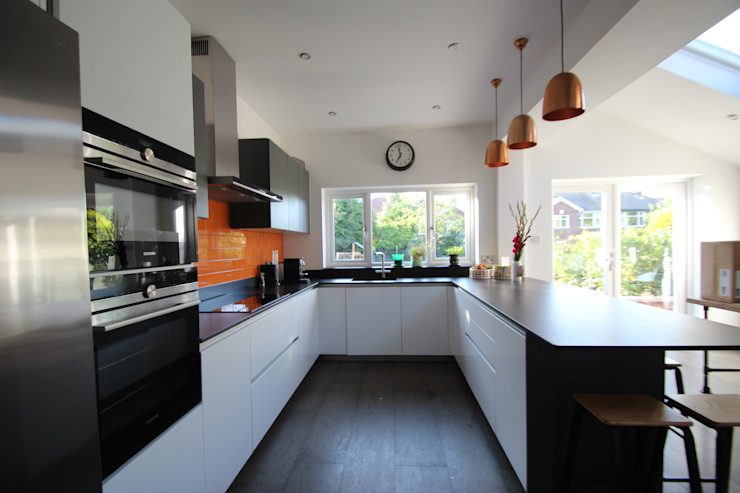 White and grey Schuller units with solid black Dekton worktops (by Cosentino) AD3 Design Limited Modern kitchen