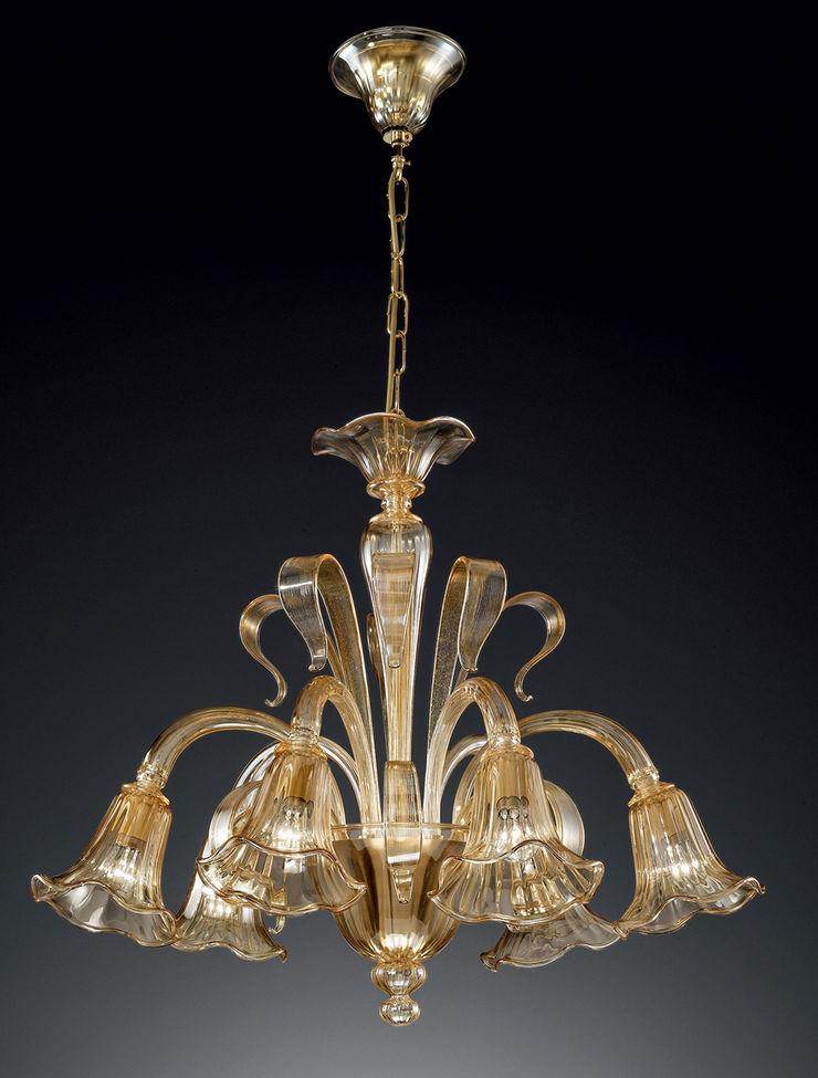 Lampadario in cristallo ambrato Vetrilamp Vetrilamp ArteAltri oggetti d'arte