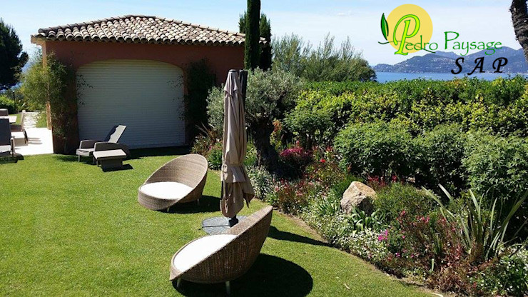 Entretien d'un espace détente Pedro Paysage SAP Jardin méditerranéen