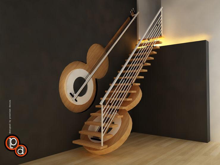 Guitar Staircase Preetham Interior Designer Modern corridor, hallway & stairs