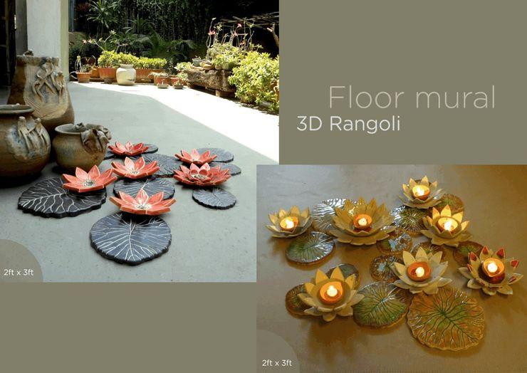 Lotus Ceramic Floor Mural Morbi Elegance AND Balaji Wall Texture Balconies, verandas & terraces Accessories & decoration