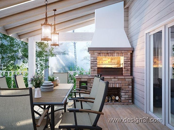 студия Design3F Modern balcony, veranda & terrace