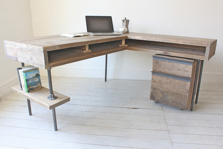 Reclaimed Scaffolding Board Industrial Chic Corner L-Shaped Desk with Built In Storage and Steel Legs - Matching Filing Cabinet Optional Ask a Question homify Study/officeDesks