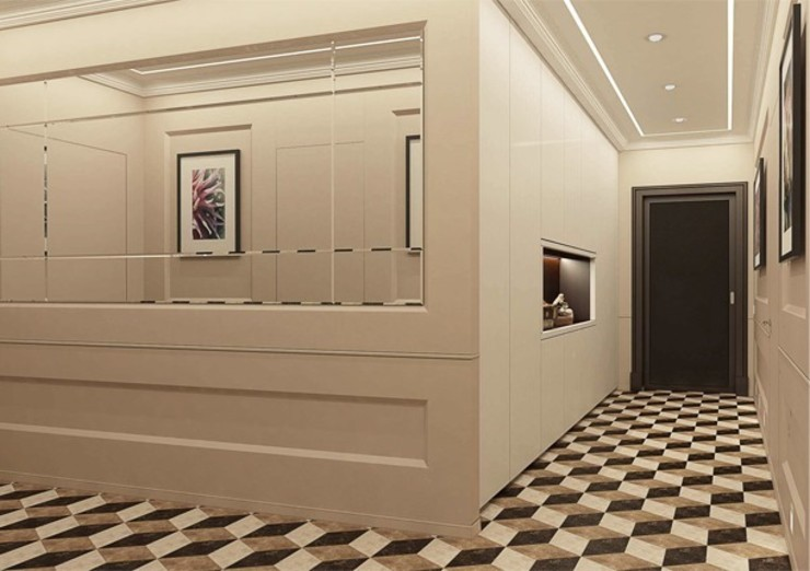 Павел Белый и дизайнеры Classic style corridor, hallway and stairs