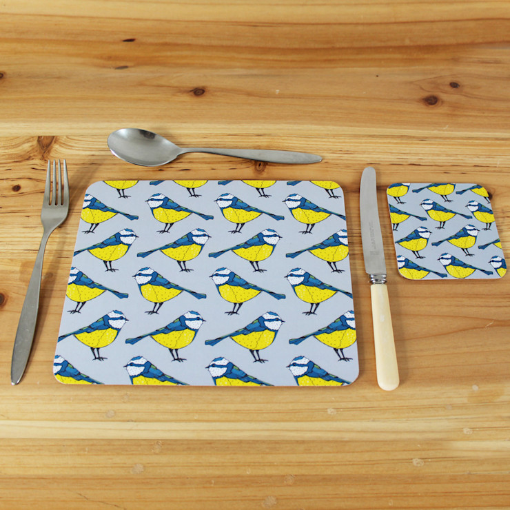 Bold Blue Tit Placemats and Coasters. martha and hepsie ltd 餐廳配件與裝飾品