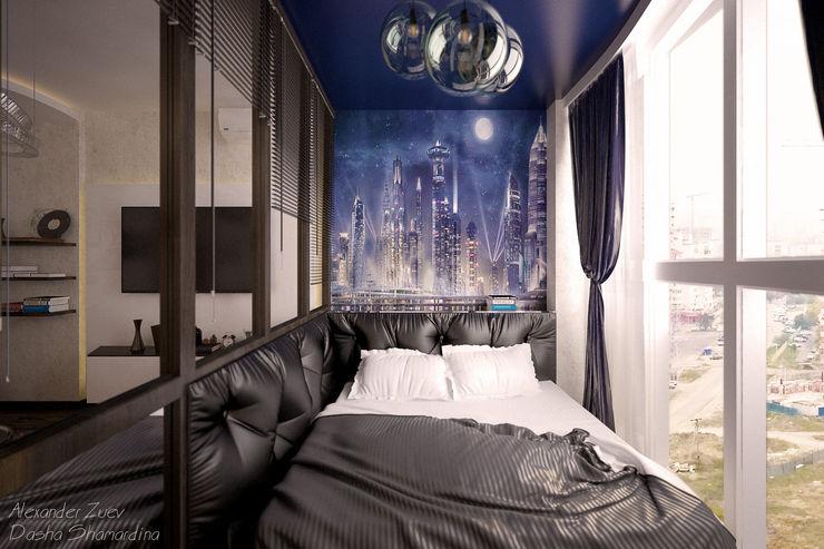 """1-комнатная квартира в ЖК """"Екатеринодар"""" (Краснодар) Студия интерьерного дизайна happy.design Спальня в стиле модерн"""