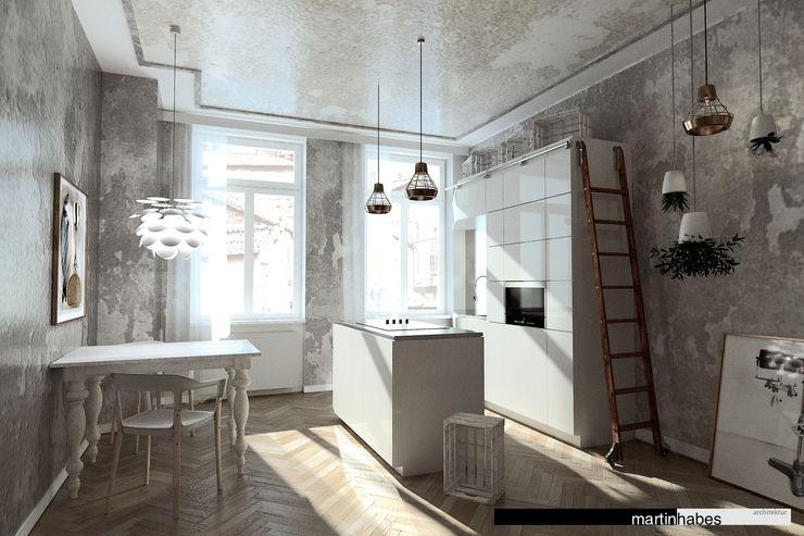 Wohnzimmer mit Koch- und Essbereich habes-architektur Minimalistische Wohnzimmer