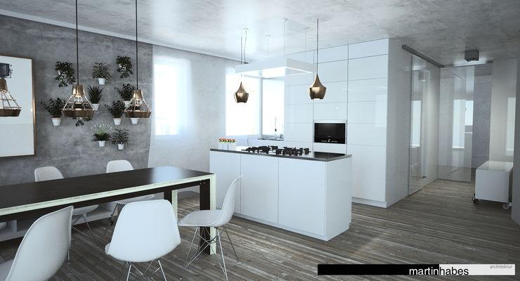 Wohnzimmer mit Koch- und Essbereich habes-architektur Industriale Wohnzimmer