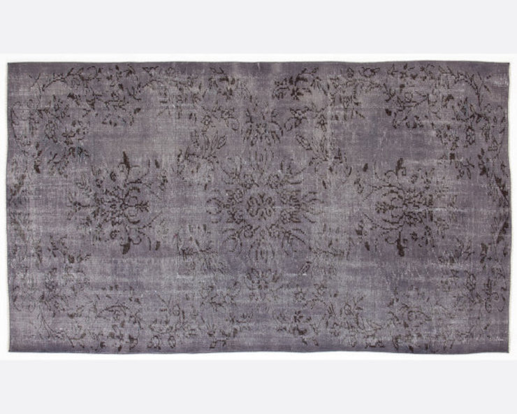 Vintage Handmade Over-dyed Rug Floral In Grey All the hues Living roomAccessories & decoration