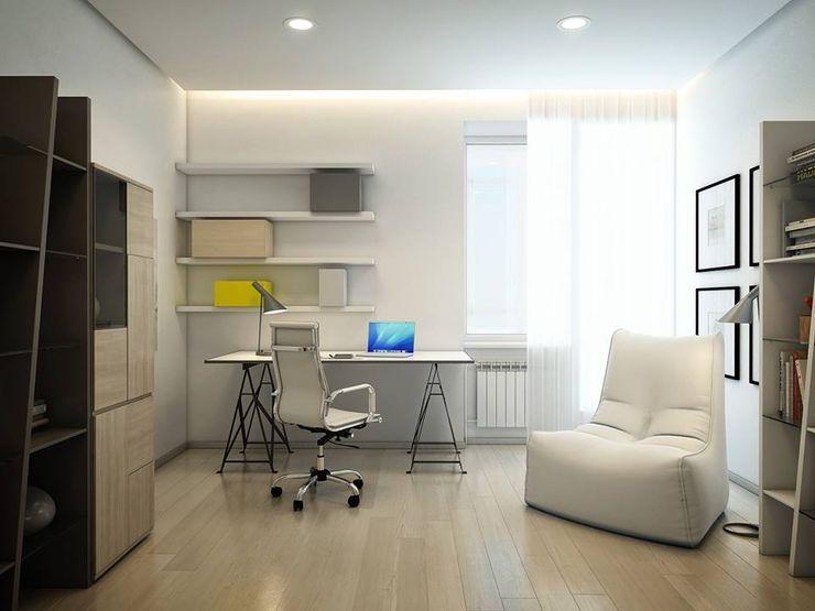 Apartment in Tomsk EVGENY BELYAEV DESIGN 書房/辦公室