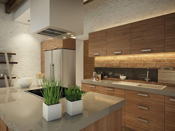 Eco Apartment in Tomsk EVGENY BELYAEV DESIGN Eclectic style kitchen