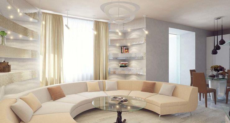 Студия дизайна интерьера 'Золотое сечение' Salas de estar minimalistas Vidro Cinza