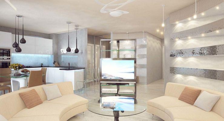 Студия дизайна интерьера 'Золотое сечение' Salas de estar minimalistas Vidro Branco