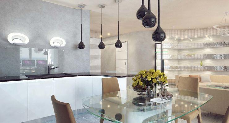Студия дизайна интерьера 'Золотое сечение' Cozinhas minimalistas Vidro Cinza