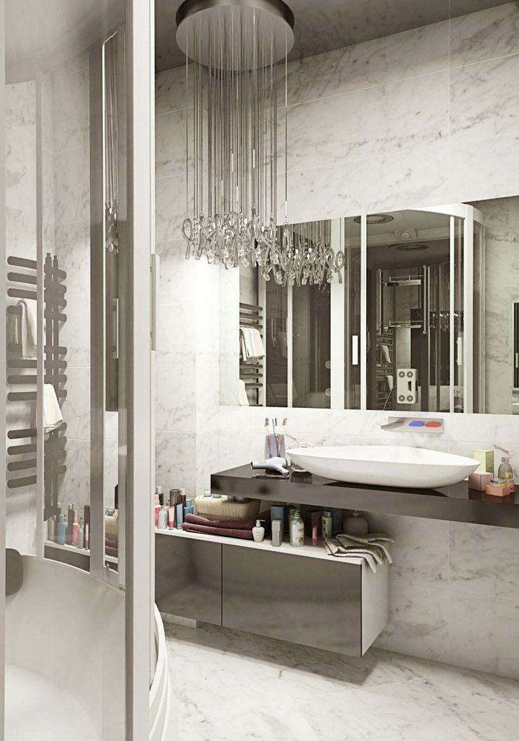 Студия дизайна интерьера 'Золотое сечение' Banheiros minimalistas Cerâmica Cinza