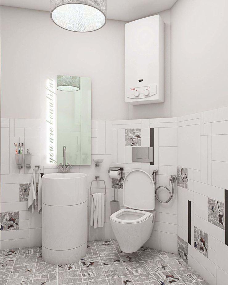 Студия дизайна интерьера 'Золотое сечение' Banheiros minimalistas Cerâmica Branco