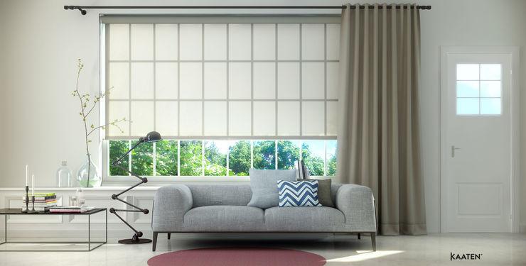 Estor enrollable y cortina tradicional - Kaaten Kaaten Salas modernas