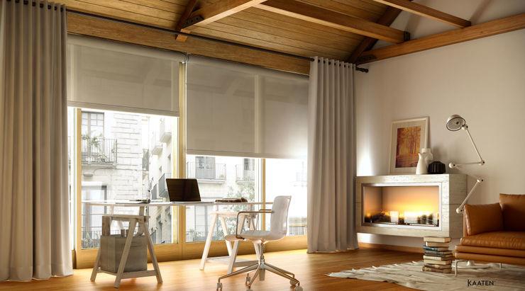 Estor enrollable y cortina tradicional - Kaaten Kaaten Estudios y despachos de estilo moderno