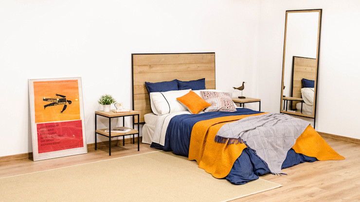Cabecero y mesillas de roble y acero macizo Cube Deco DormitoriosCamas y cabeceros