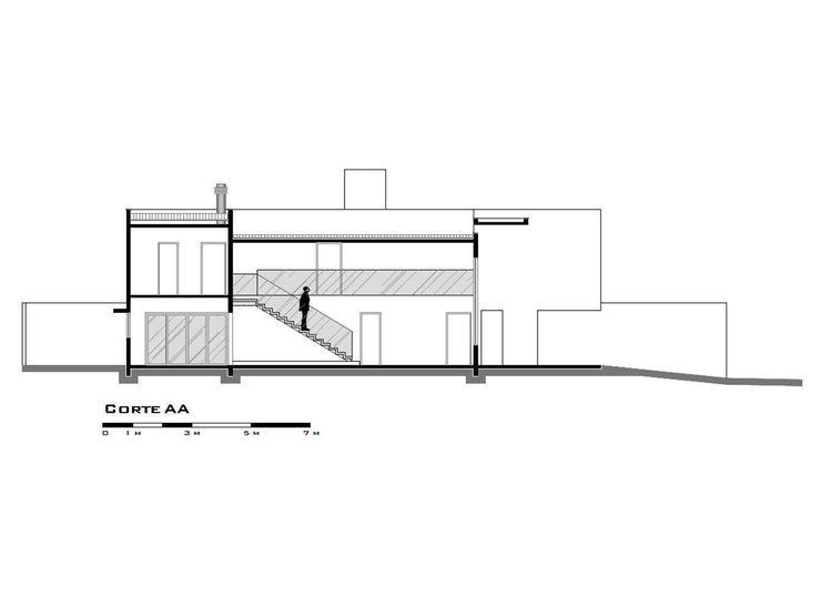 Desenho técnico: corte longitudinal Santos Arquitetura