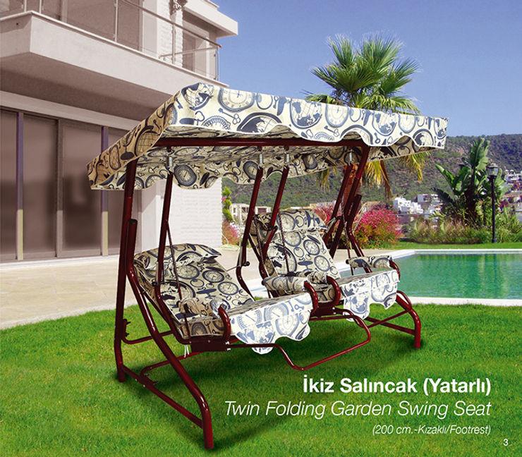 Twins Garden Swing Seat ERİNÖZ OUTDOOR FURNITURE JardínColumpios y zonas de juego