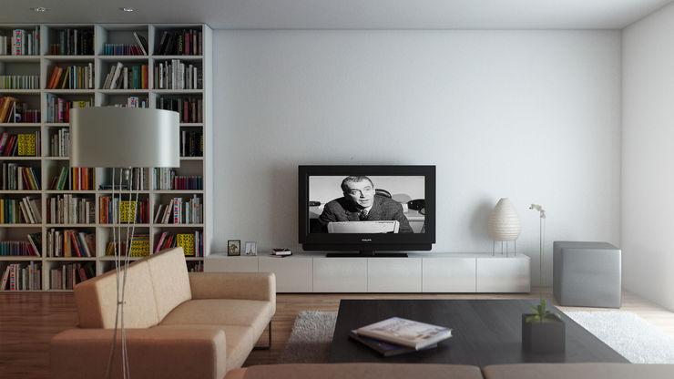 Studio di arredo per una abitazione privata - render amorosodesign Soggiorno moderno