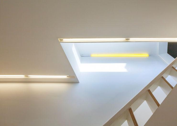LED strip lighting Neil Dusheiko Architects Modern corridor, hallway & stairs