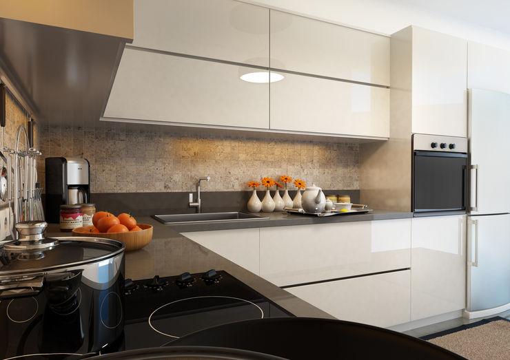 White kitchen BA DESIGN Modern Mutfak