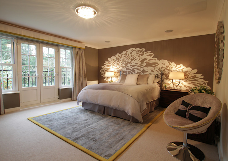 A Stunning Master Bedroom with White Floral Wall Mural & Lime Edge Rug Design by Deborah Ltd Modern style bedroom
