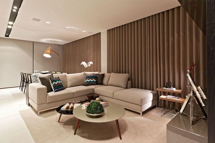 Apartamento Vila Grimm LEDS Arquitetura Salas de estar modernas
