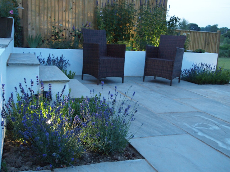 Lavender and Lighting Borrowed Space Mediterranean style garden