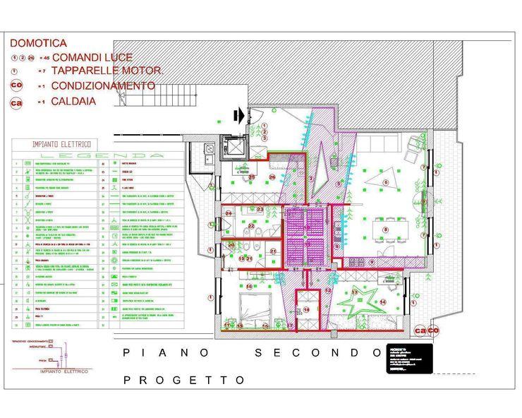 progetto lay-out impianto elettrico domotico antonio giordano architetto Case moderne